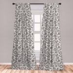 Black And White Curtains 2 Panels Set Floral Composition Doodle Style Foliage Sketch Abstract Feminine Theme Window Drapes For Living Room Bedroom Black White By Ambesonne Walmart Com Walmart Com