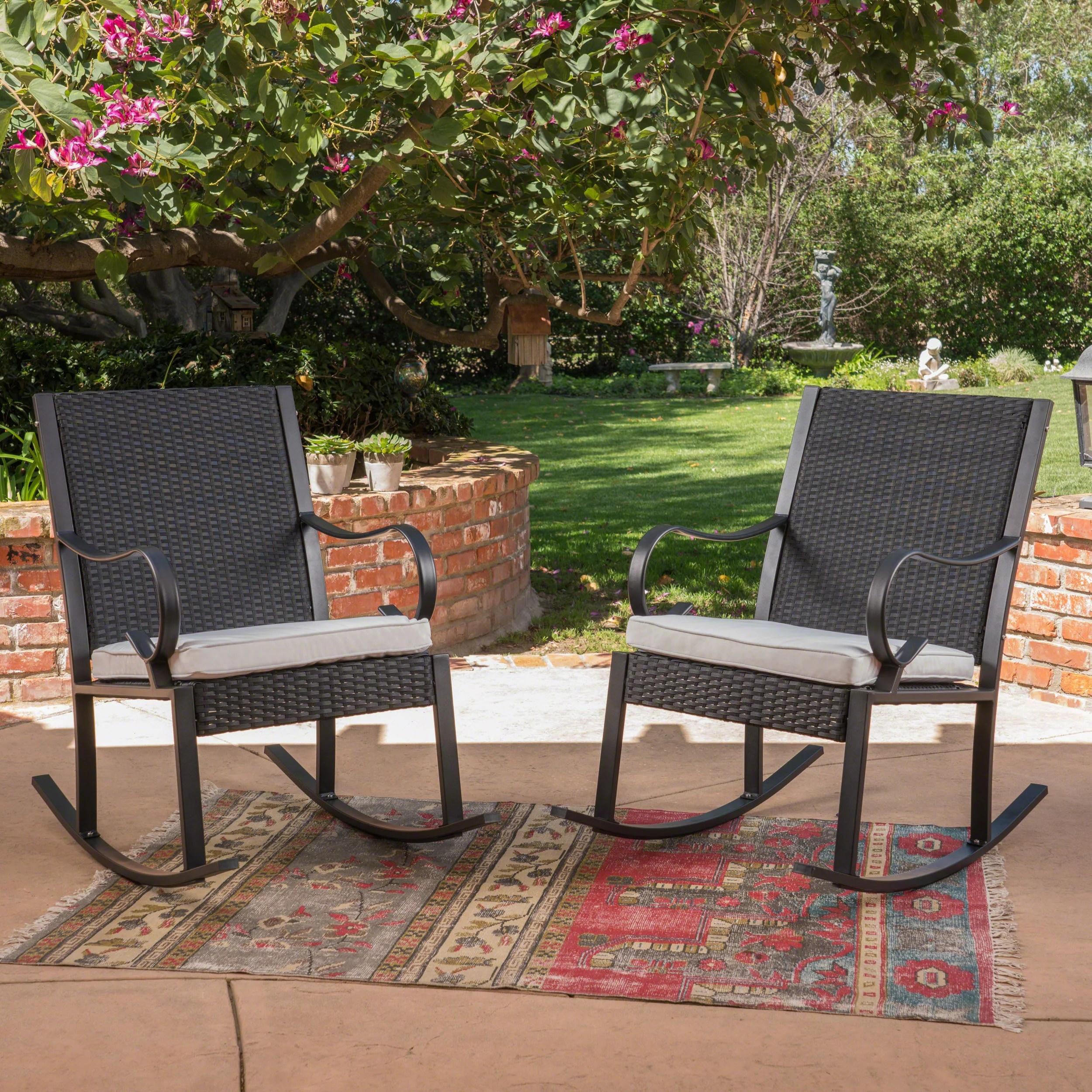 Horizon Outdoor Wicker Rocking Chair With Cushion White Black Walmart Com Walmart Com