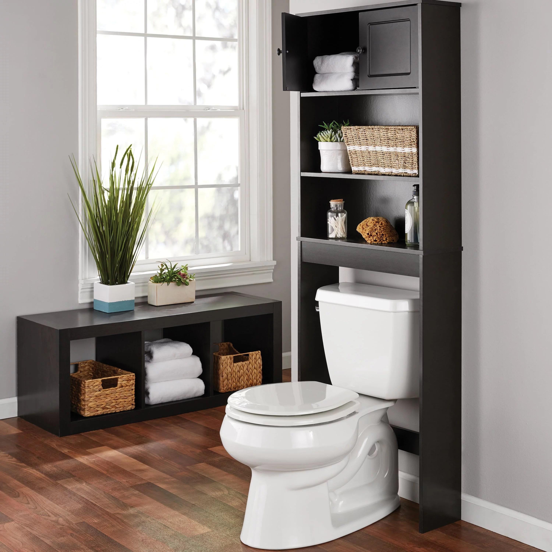 Mainstays Bathroom Storage Over The Toilet Space Saver With Three Fixed Shelves Espresso Walmart Com Walmart Com