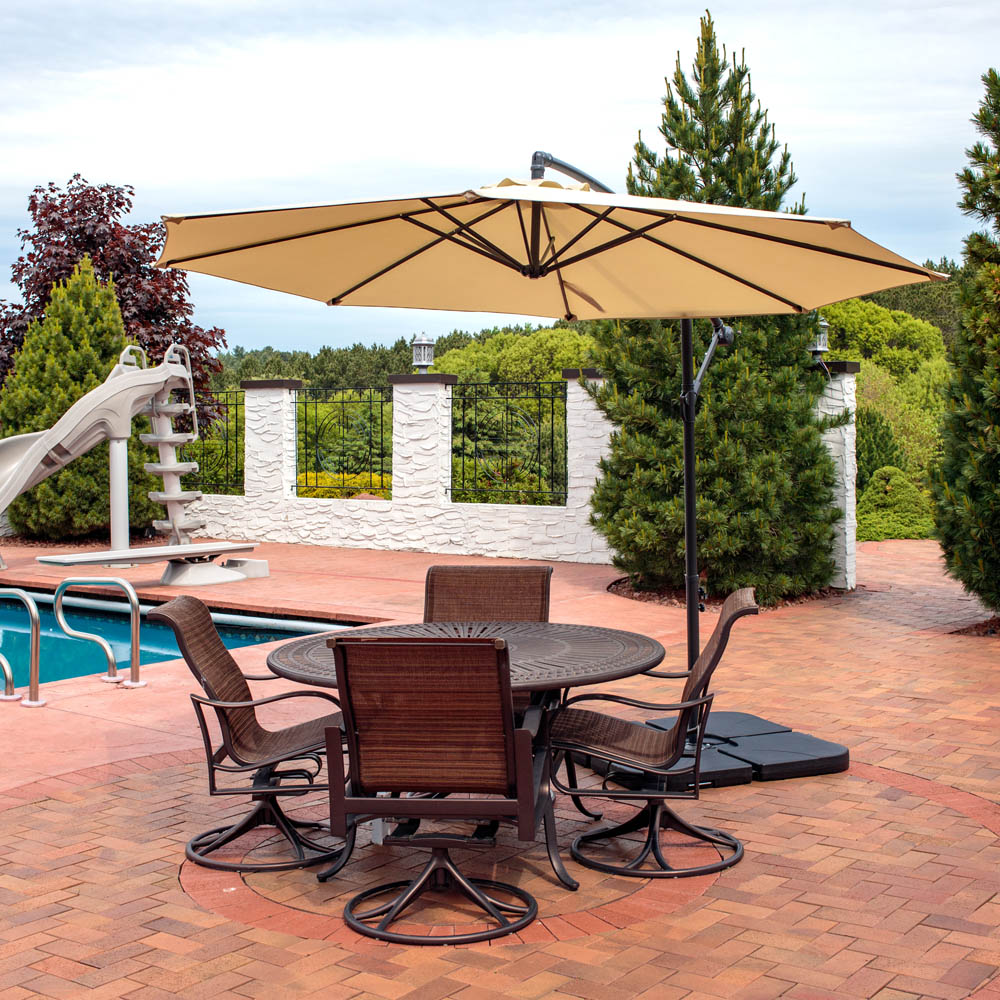 sunnydaze steel 10 foot offset patio umbrella with cantilever crank and cross base 8 steel ribs