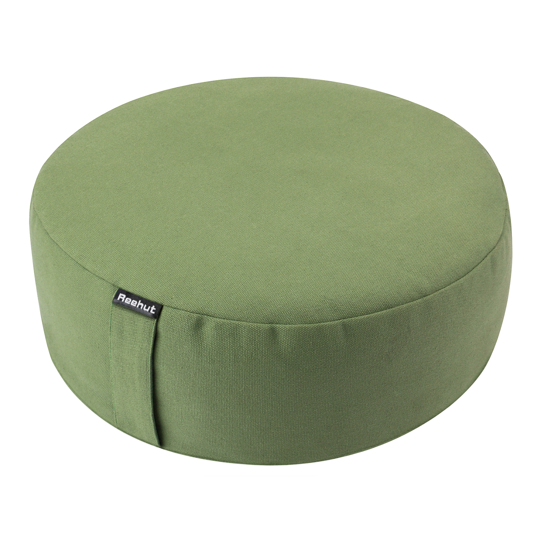 reehut zafu yoga meditation bolster pillow cushion filled with buckwheat round organic cotton or hemp grey 16 x16 x4 5