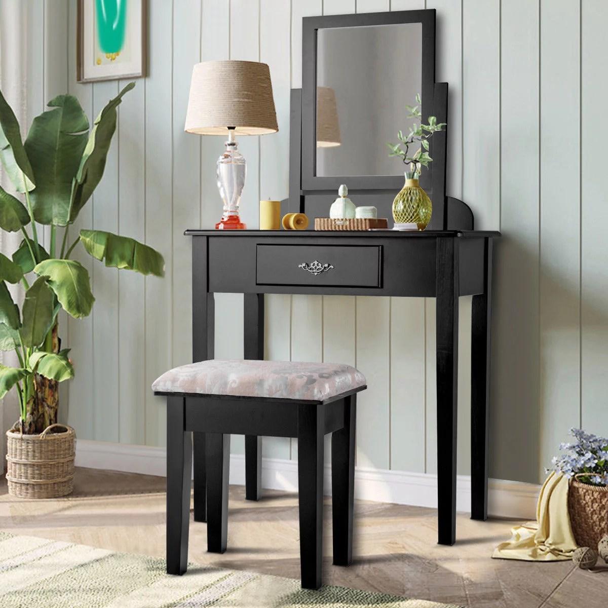 costway makeup desk vanity dressing table square stool 1 large black walmart com