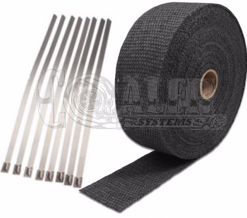 black exhaust wrap kit 2 inch x 50 ft roll w 8 stainless steel zip ties