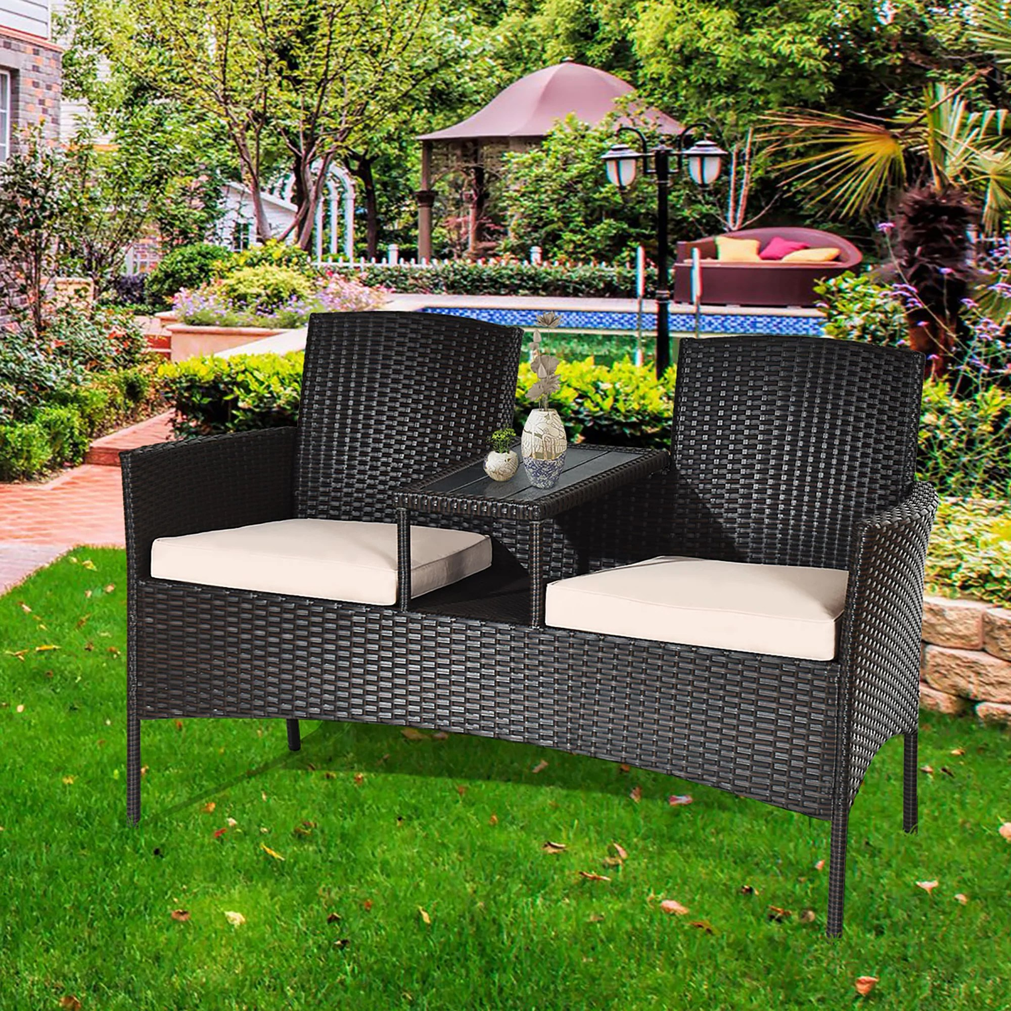costway patio rattan chat set seat sofa loveseat table chairs conversation cushioned