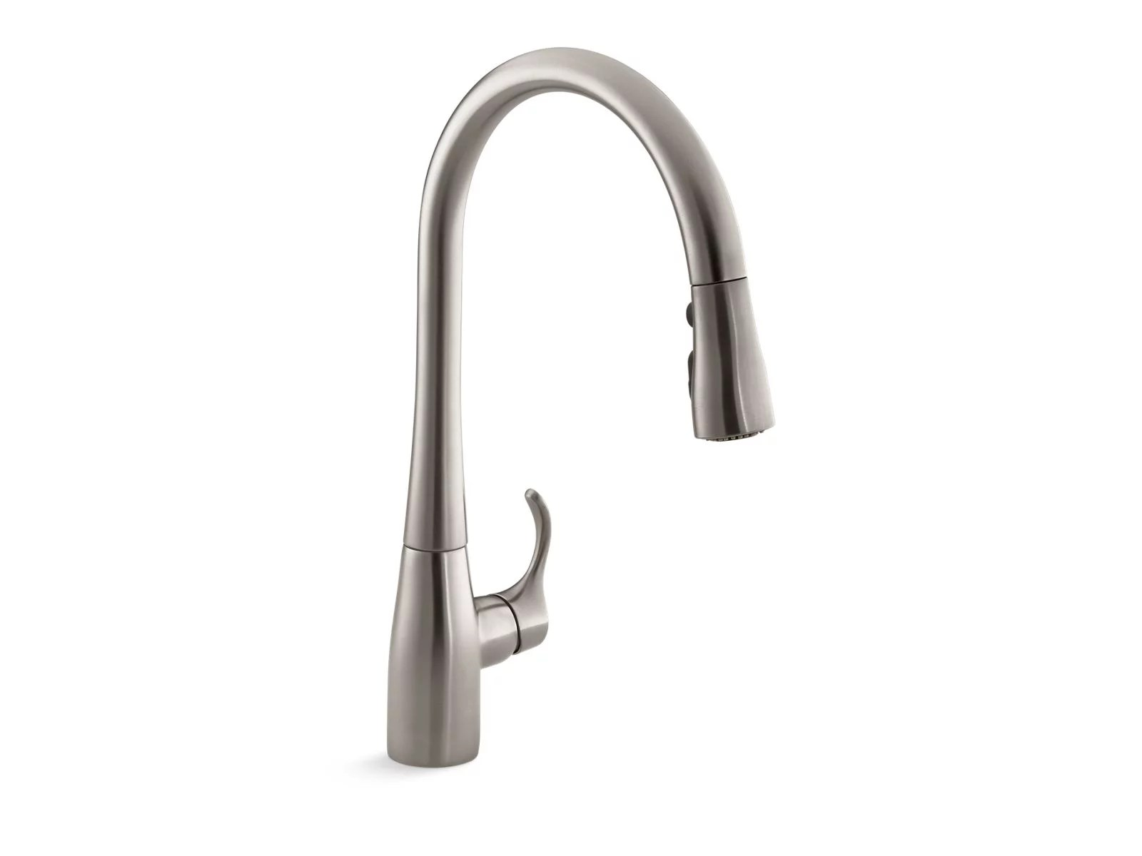 kohler simplice single hole or three hole kitchen sink faucet with 16 5 8 pull down spout docknetik magnetic docking system and a 3 function