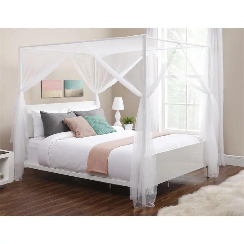 dhp canopy queen metal bed in white walmart com