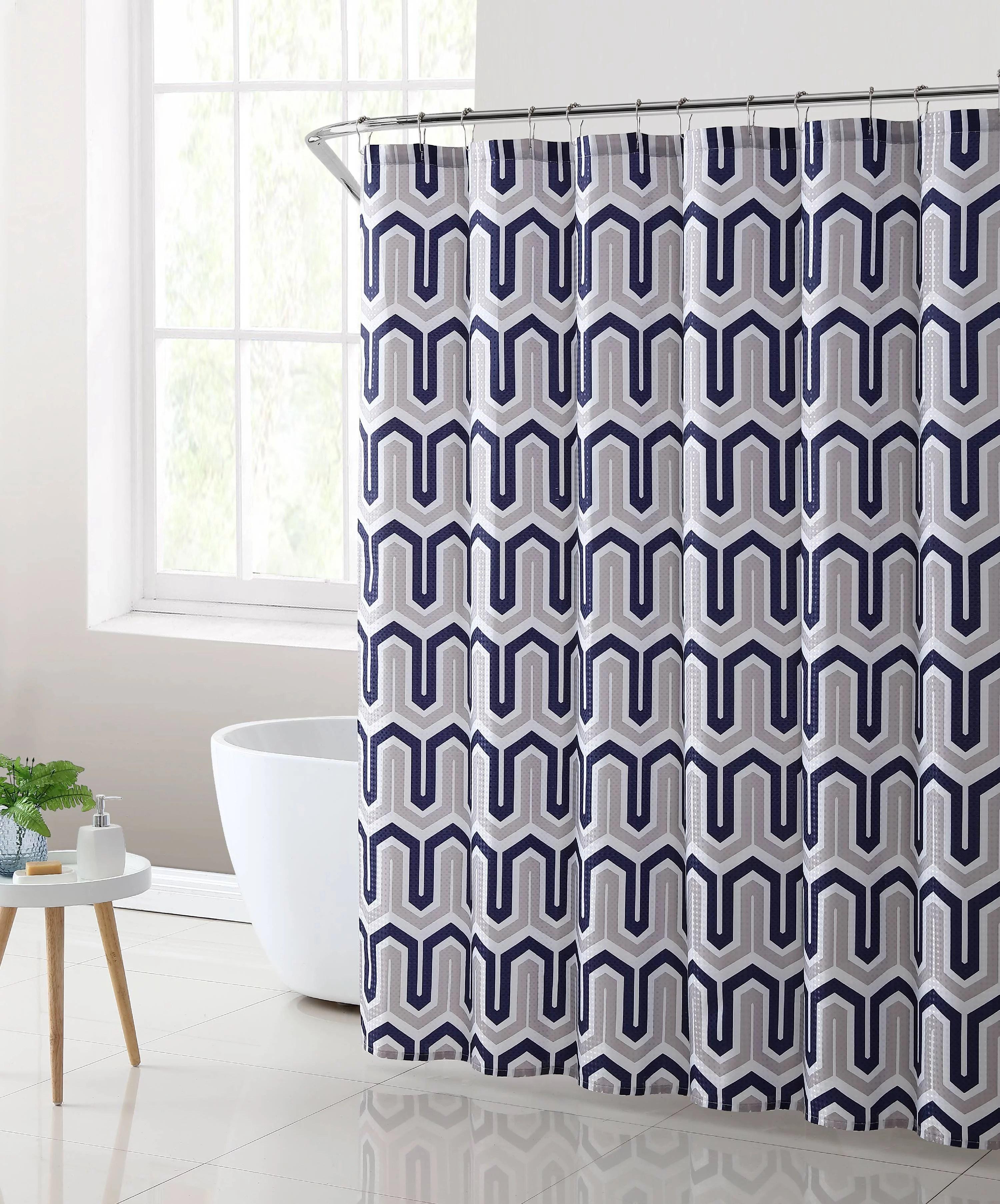mainstays london geometric fabric shower curtain