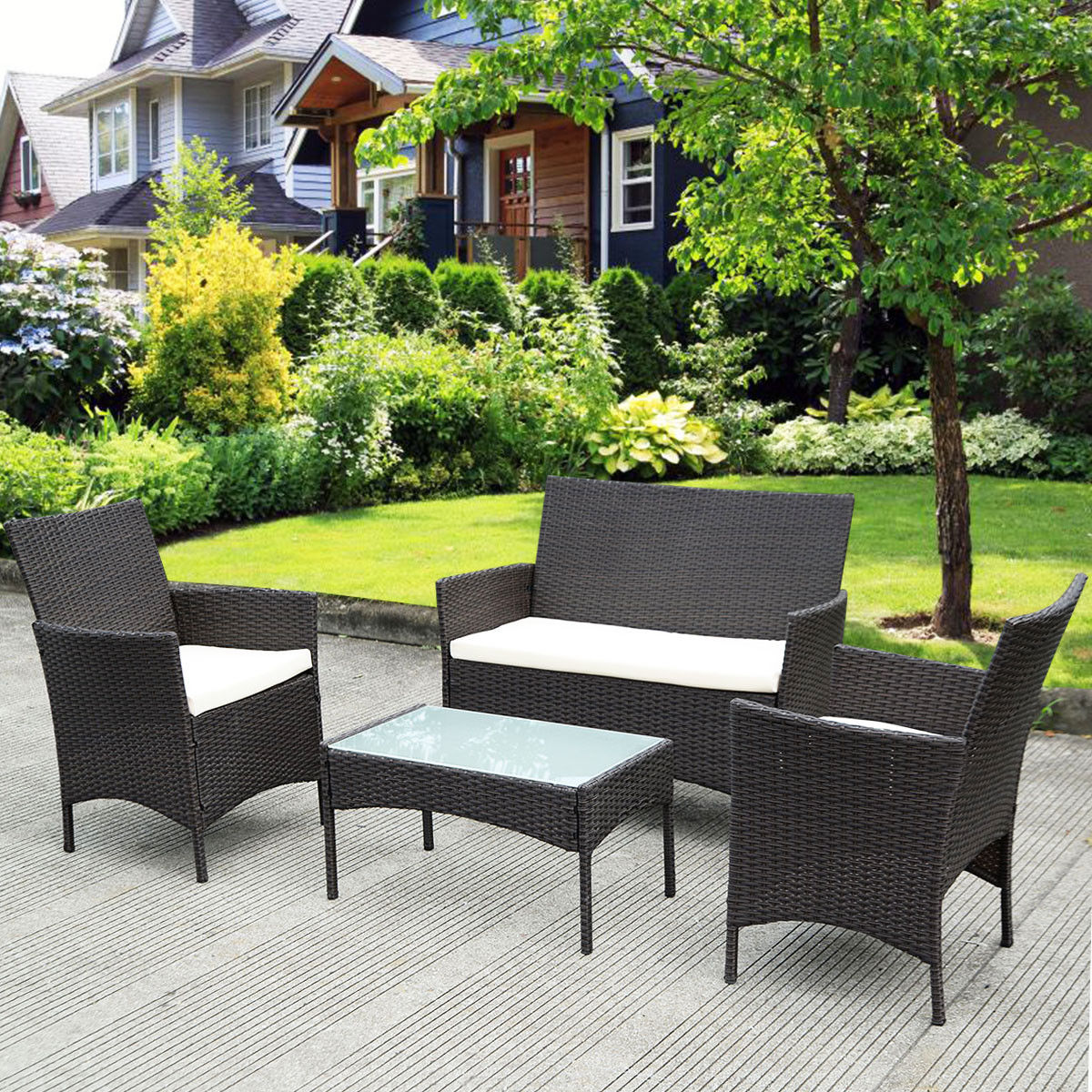 Costway 4 Pc Patio Rattan Wicker Chair Sofa Table Set