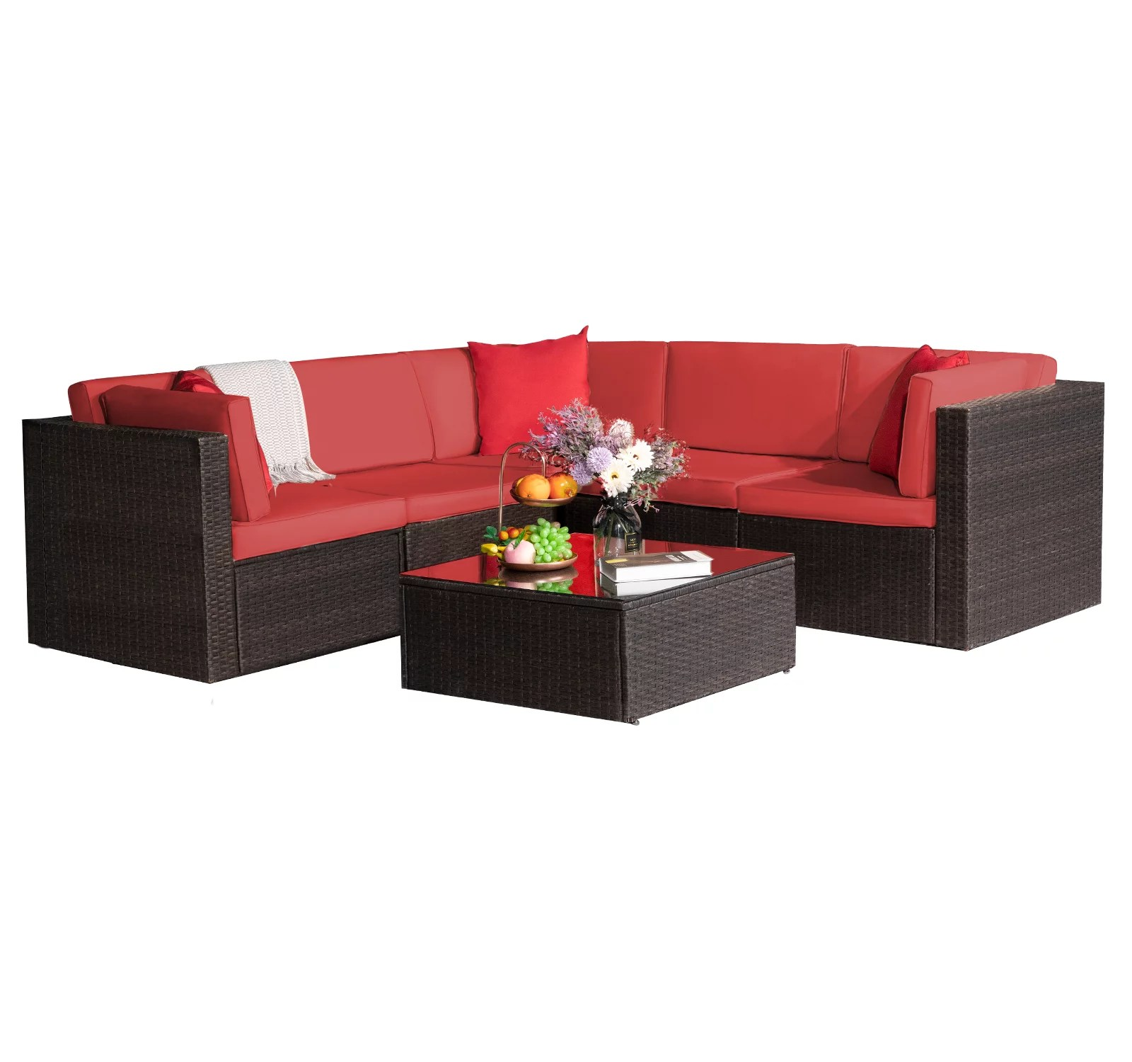 walnew 6 pieces outdoor furniture patio sectional sofa sets all weather pe rattan manual wicker conversation set with washable cushions and glass
