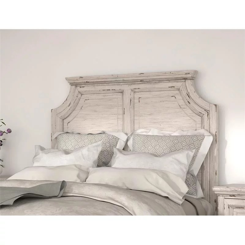 providence antique white wood queen panel headboard