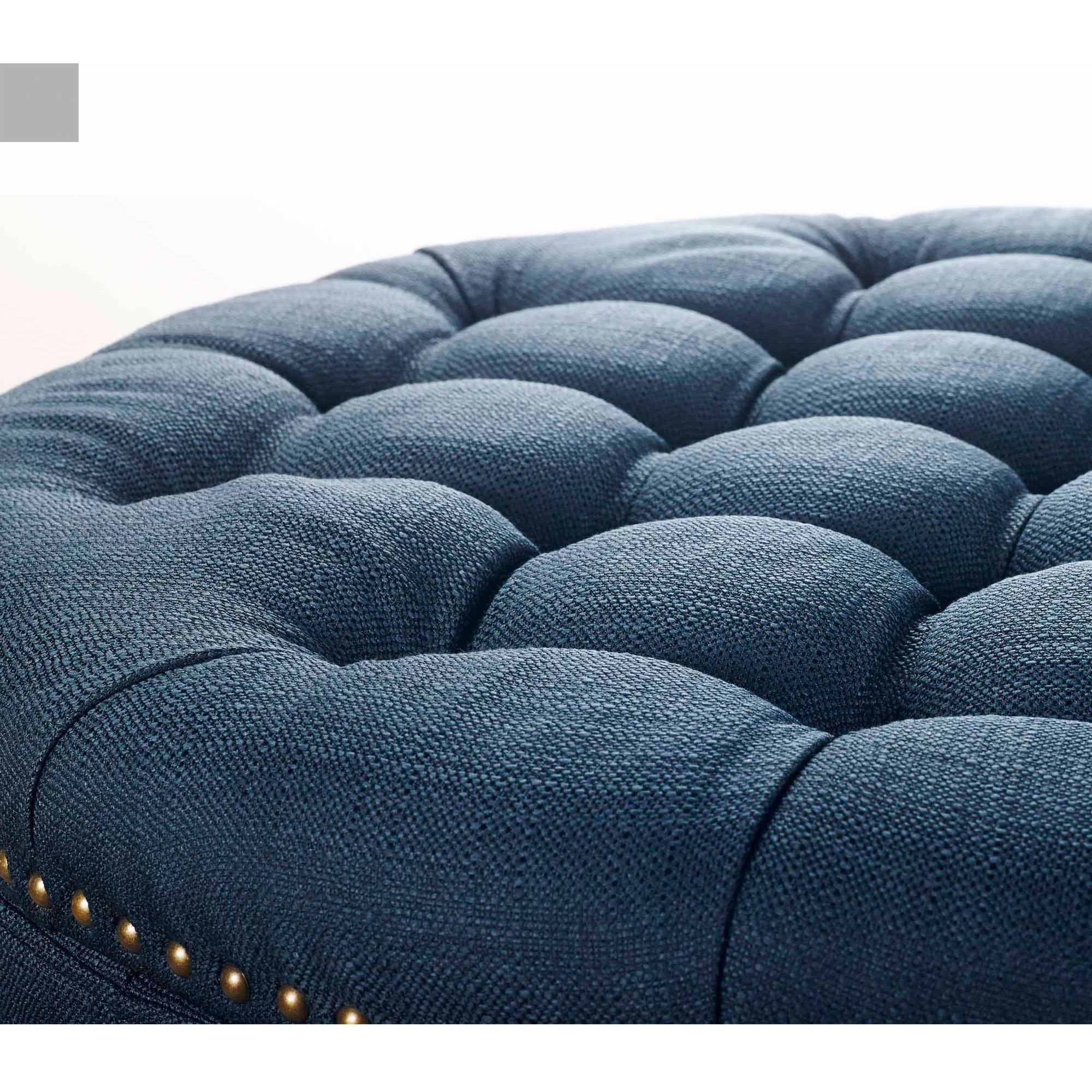 better homes and gardens round tufted storage ottoman with nailheads teal
