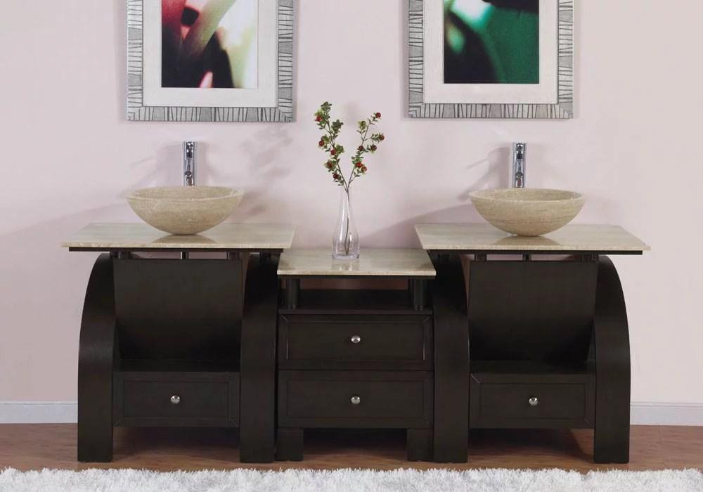 77 in kallista double sink bathroom vanity in dark walnut