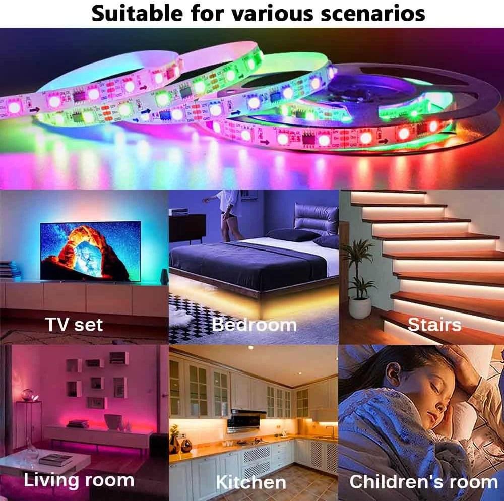 led strip lights 32 8ft 10m flexibcolor changing led lights strip for bedroom 5050 rgb led tape lights with rf remote 12v power supply rgb led light