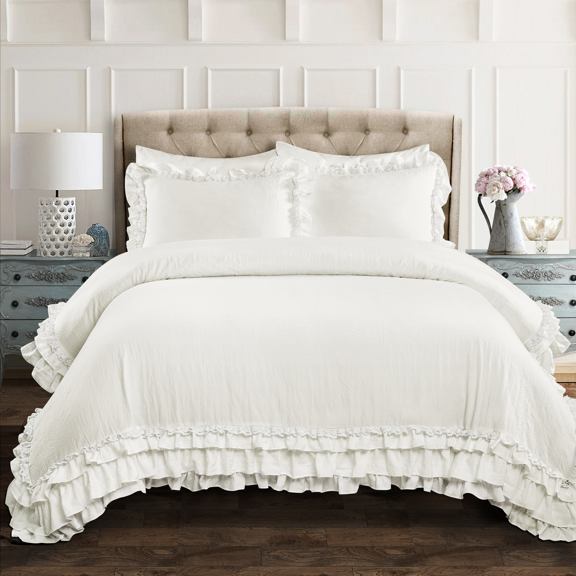 ella shabby chic ruffle lace comforter set multiple colors