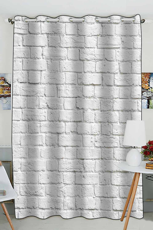 abphqto white brick wall grommet blackout curtain room darkening curtains 52x84 inch one piece