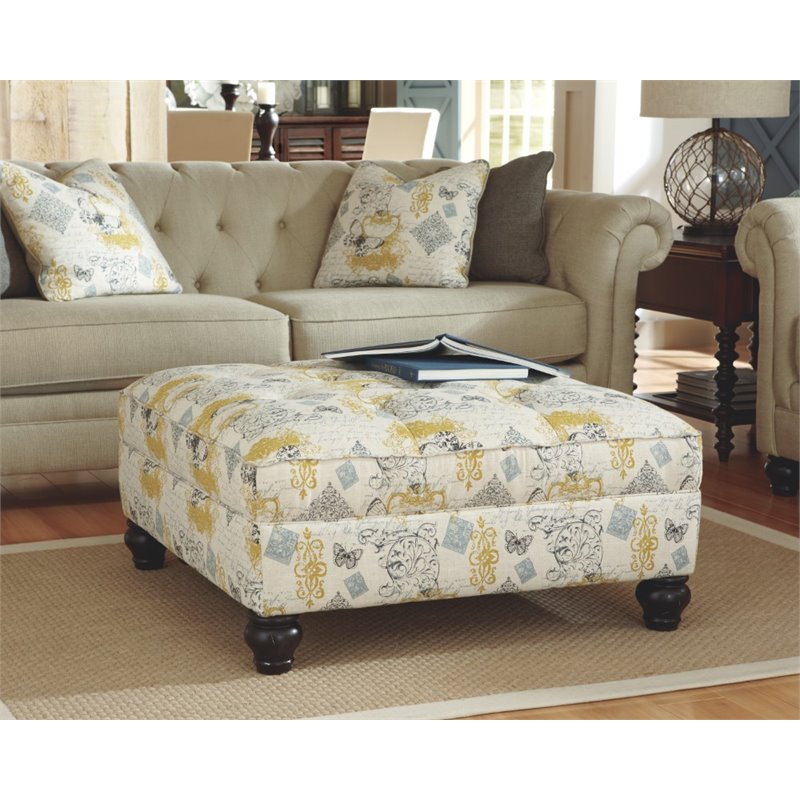 ashley hindell park oversized square ottoman in linen