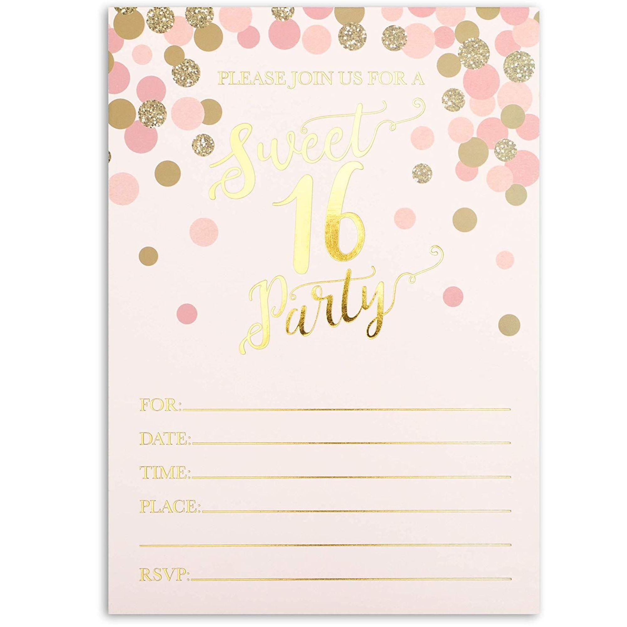 36 pack sweet 16 birthday party invitation with envelopes 5 x 7 inches pink with gold foil polka dots invitation cards for rsvp 16th birthday