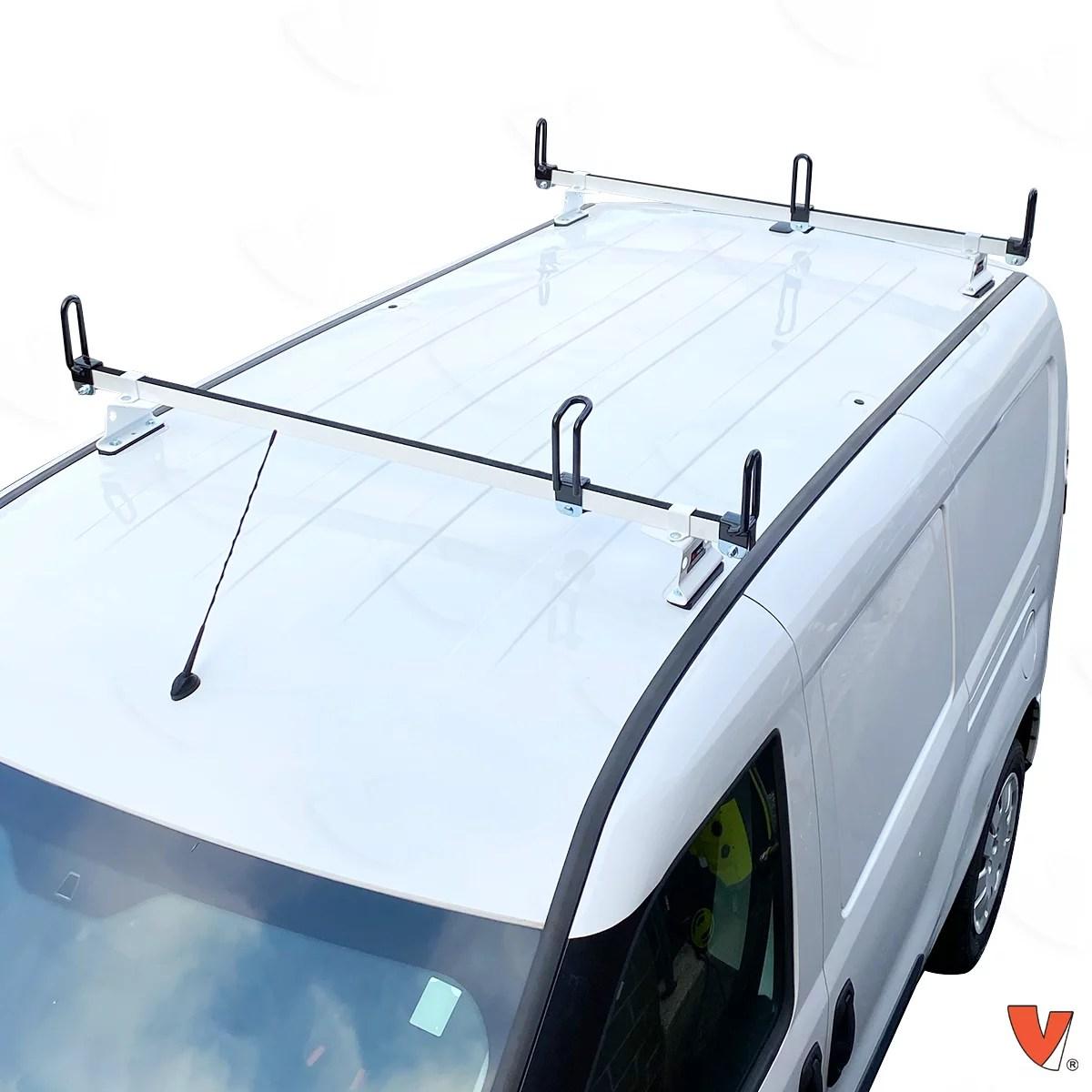 vantech heavy duty 2 bar ladder roof rack fits ram promaster city van white walmart com