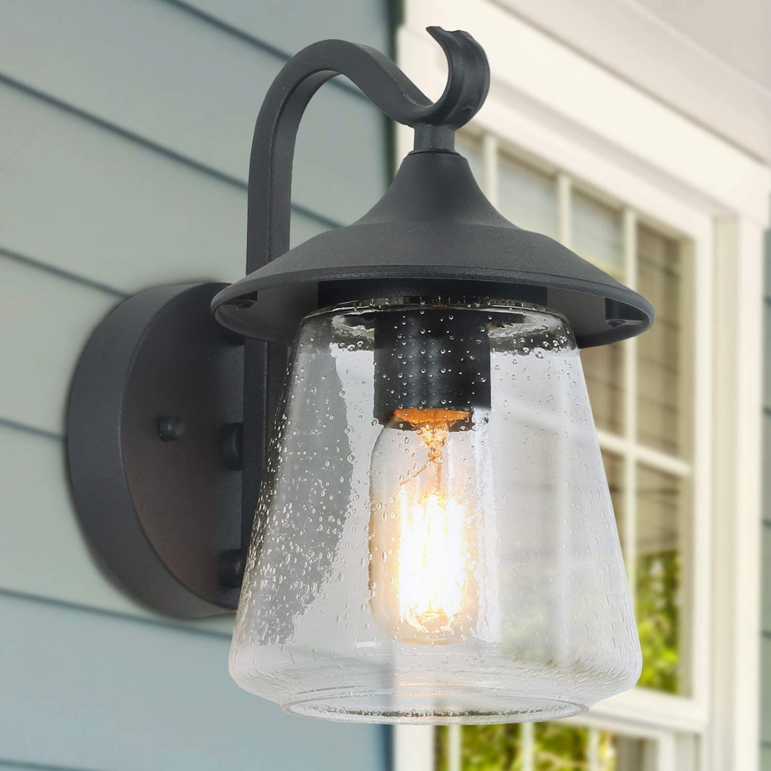 outdoor light fixtures wall mount farmhouse black outdoor wall light with clear seeded glass porch light