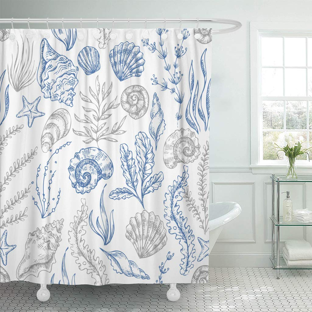 ksadk seashell sea coral sketch vintage beach hand shell star bathroom shower curtain 60x72 inch