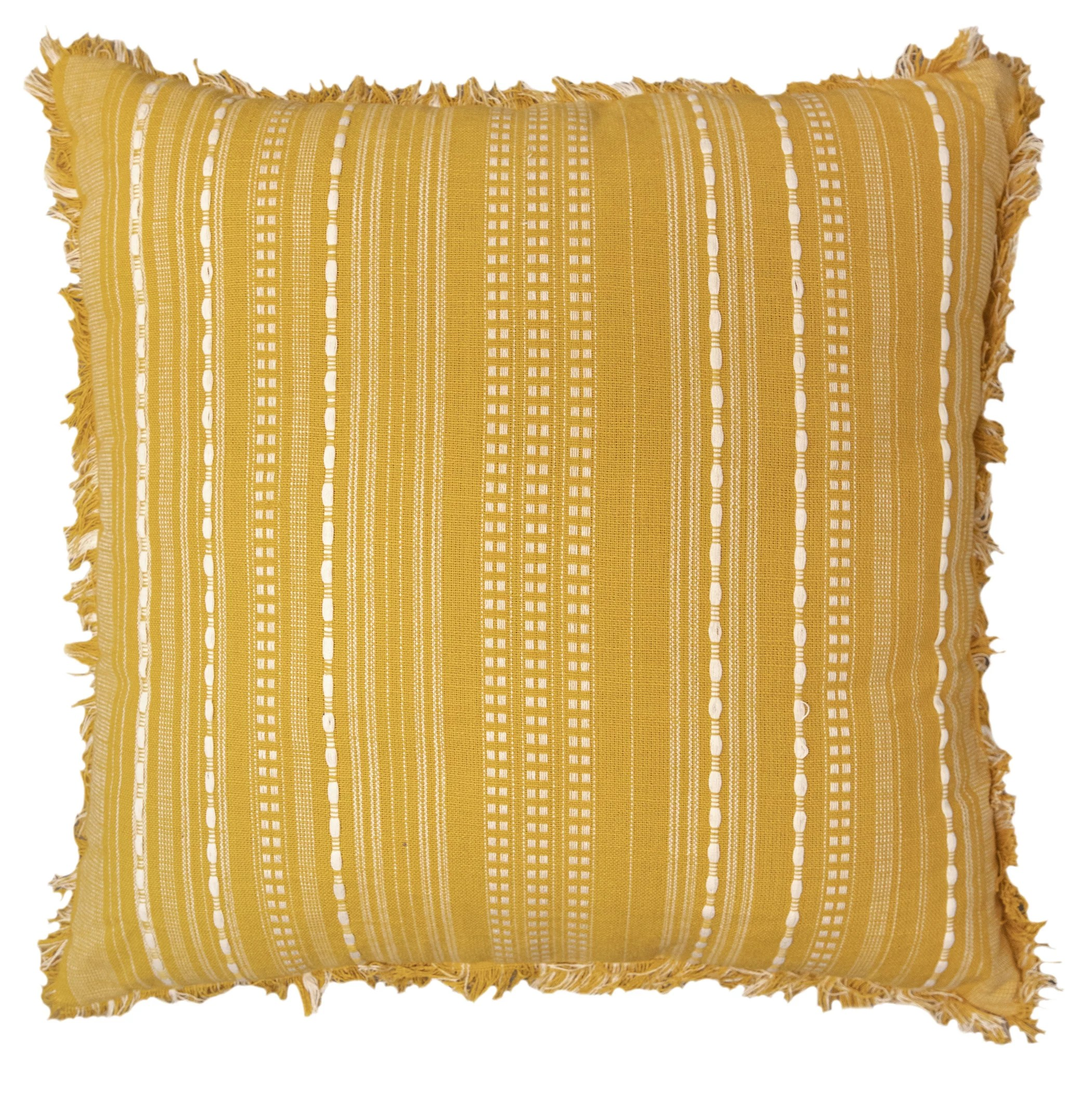 better homes gardens decorative throw pillow reversible stripe square yellow 20 x20 1pack