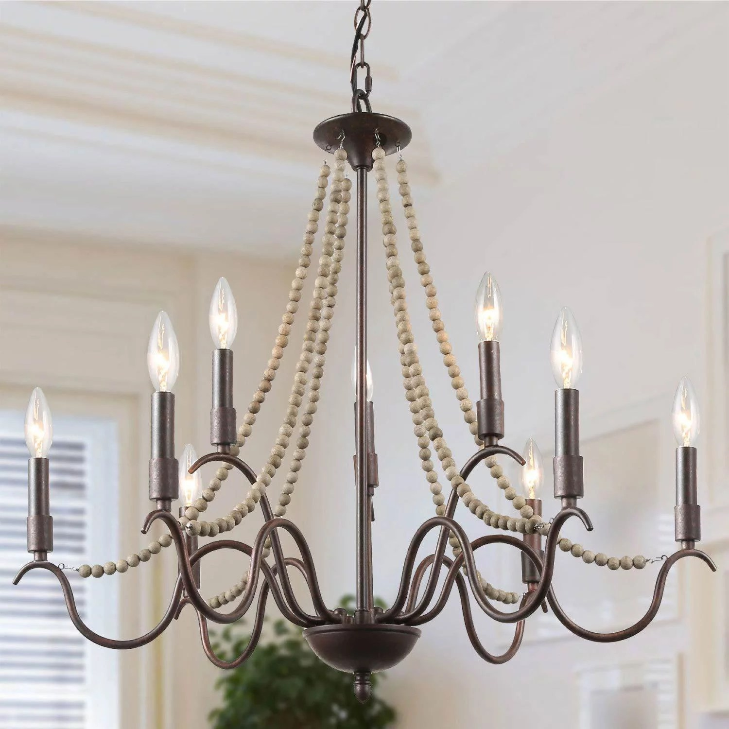 lnc french country chandeliers for dining room beaded light fixture wood pendant lighting for kitchen walmart com