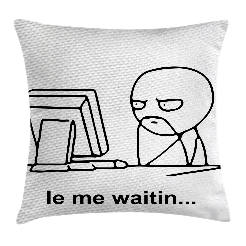 humor decor throw pillow cushion cover stickman meme face icon looking at computer joyful fun caricature comic design decorative square accent