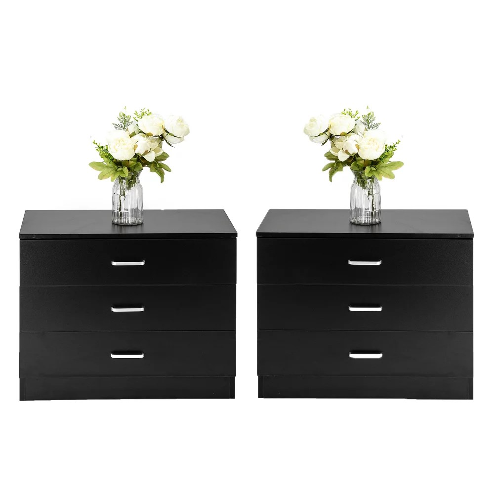 ktaxon set of 2 pcs nightstands dresser bedside end table storage cabinets with 3 drawers modern night table black