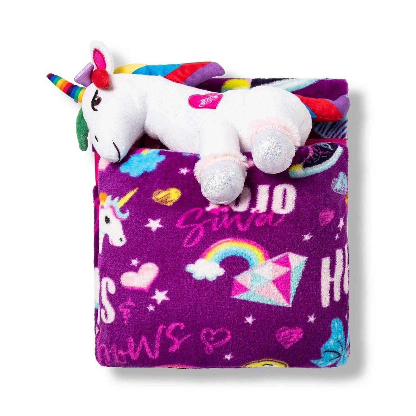 jojo siwa 3 pc travel set unicorn plush pillow throw blanket walmart com