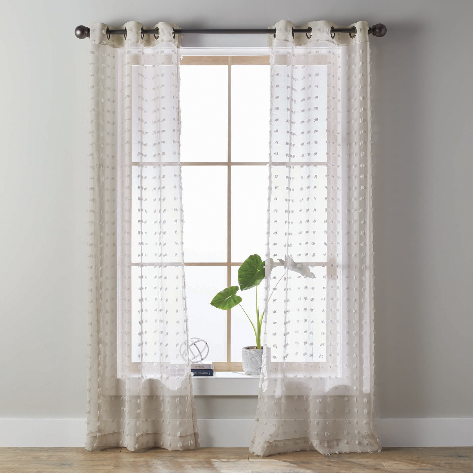better homes gardens clipped pom pom window curtain panel set of 2