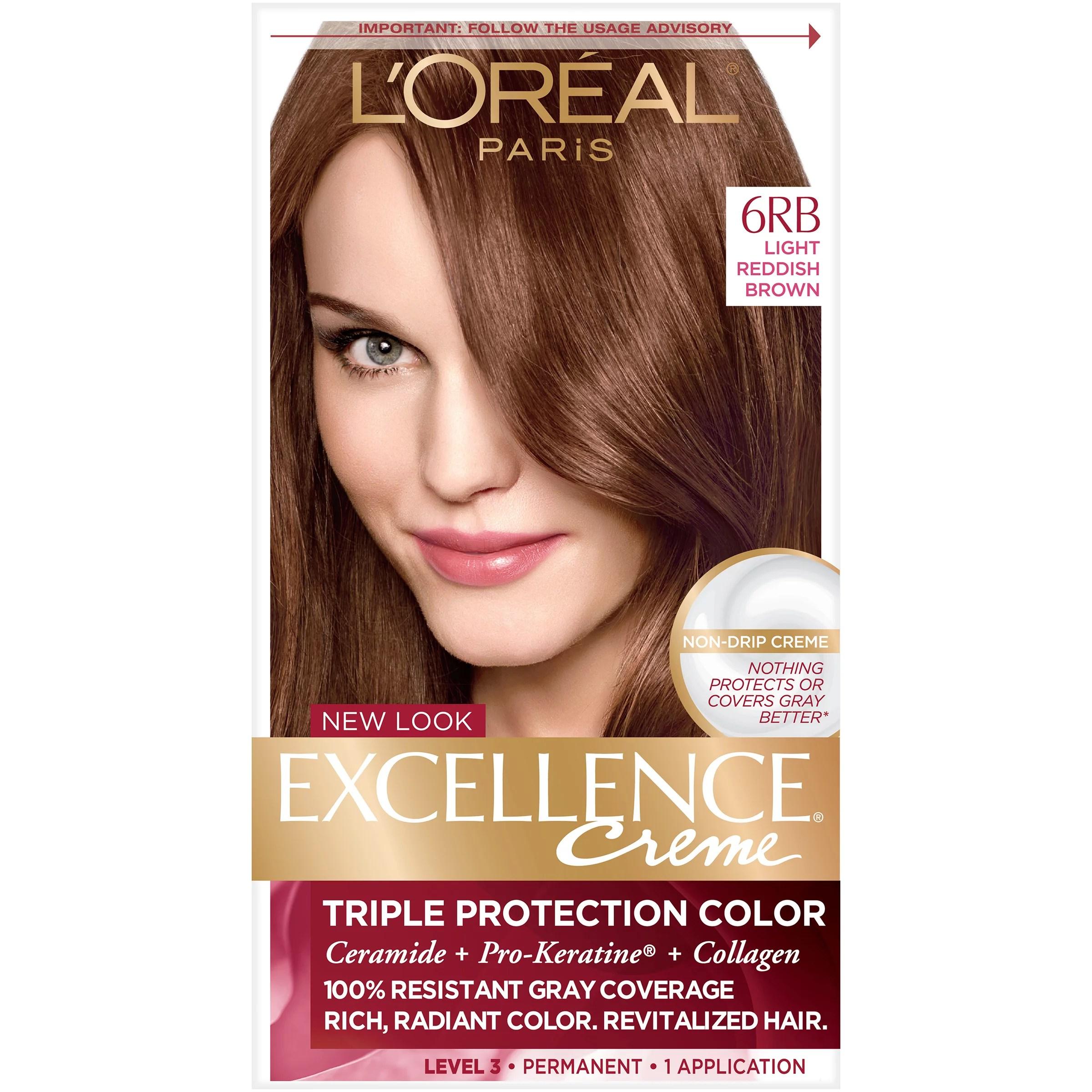 L'Oreal Paris Excellence Creme Permanent Triple Protection Hair Color, 6RB Light Reddish Brown, 1 kit