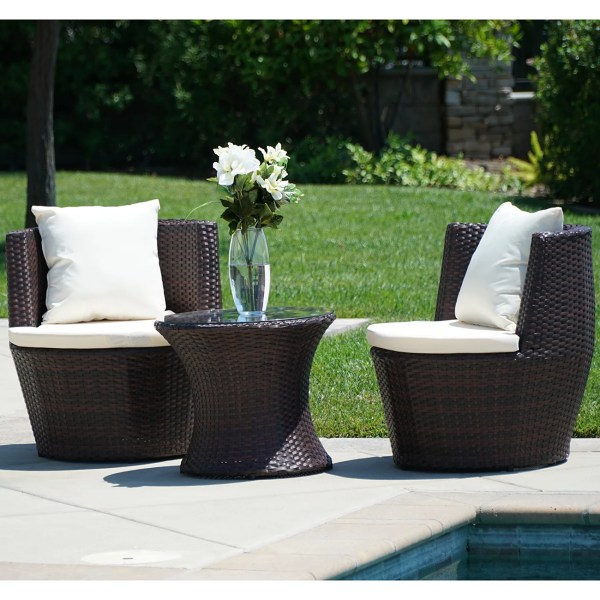 BELLEZE3 Piece Patio Outdoor Rattan Patio Set Wicker Furniture     BELLEZE3 Piece Patio Outdoor Rattan Patio Set Wicker Furniture Outdoor  SetHour Glass Table Brown Round Chairs