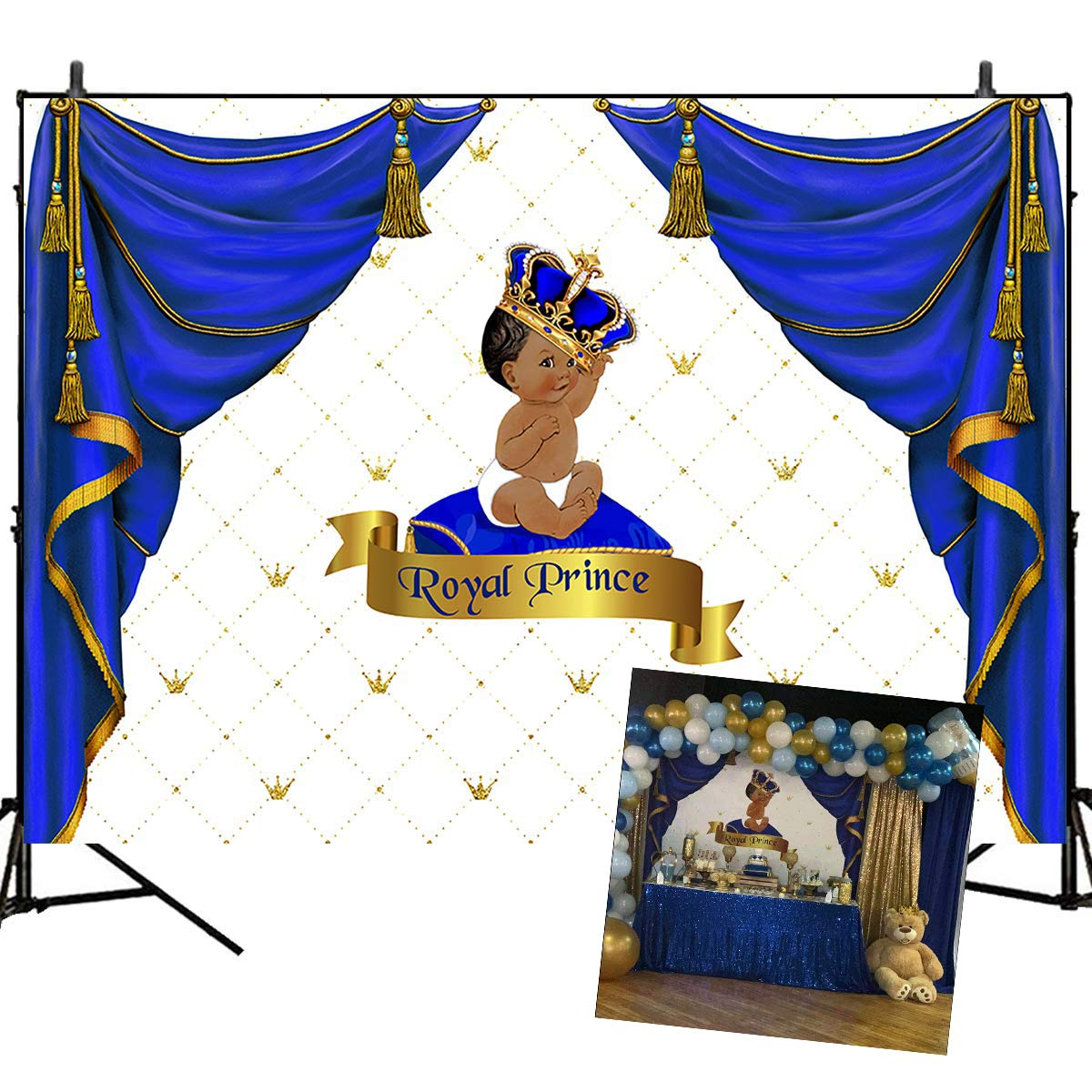 baby shower backdrops royal prince background blue curtain decorated baby birthday party banner decoration 7 5ft vinyl newborn baby photography props