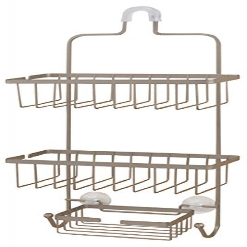 deluxe large hanging shower caddy brushed nickel