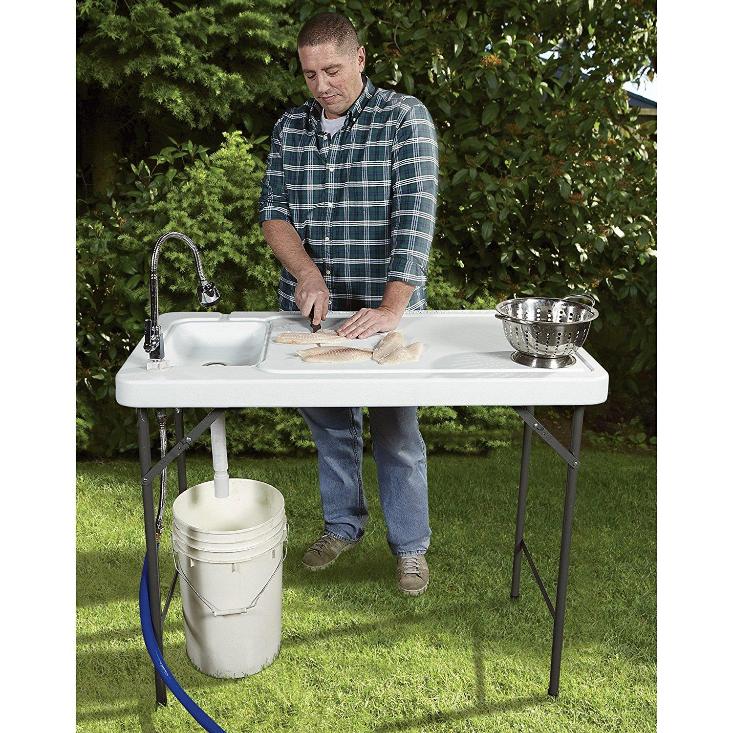 ktaxon portable folding table fish fillet hunting cleaning cutting camping picnic outdoor gardening table with sink faucet walmart com