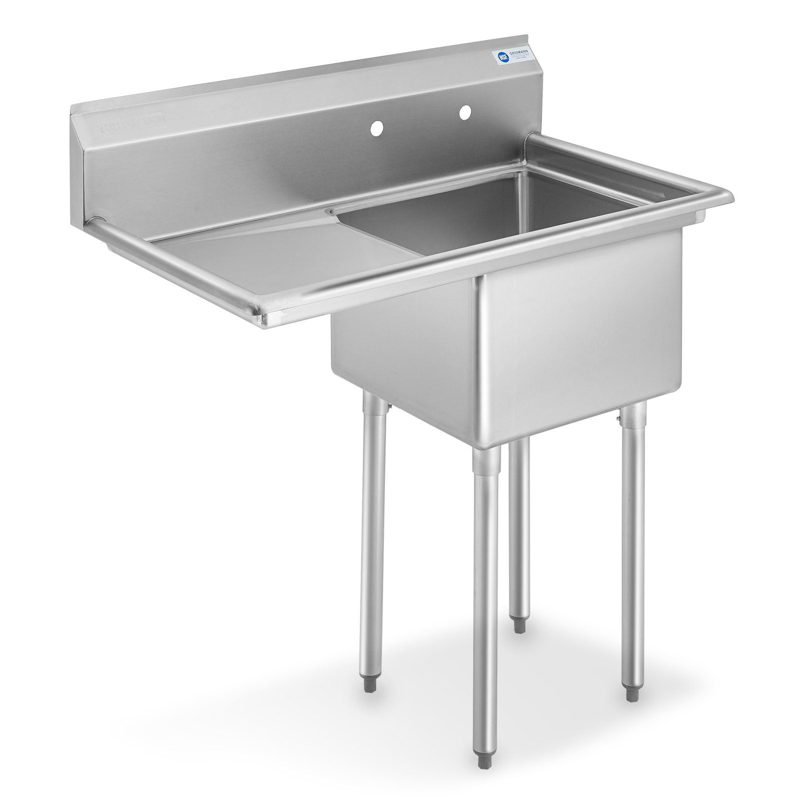 gridmann nsf stainless steel 18 single bowl commercial kitchen sink with left drainboard 12 in deep walmart com