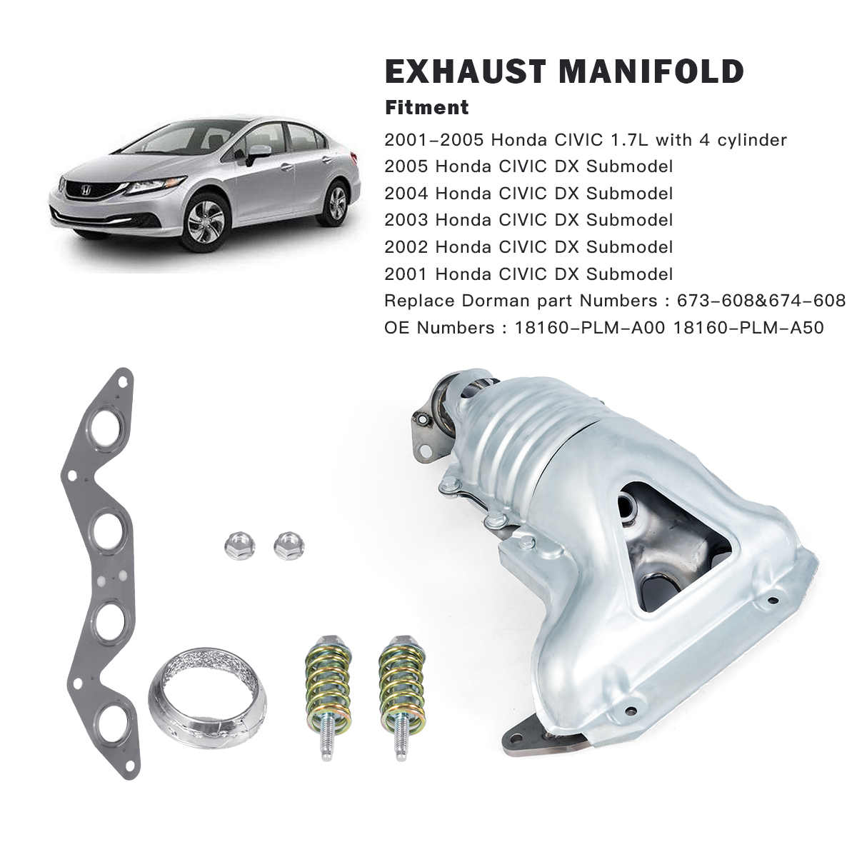 costway exhaust manifold set with integrated catalytic converter fit for honda civic