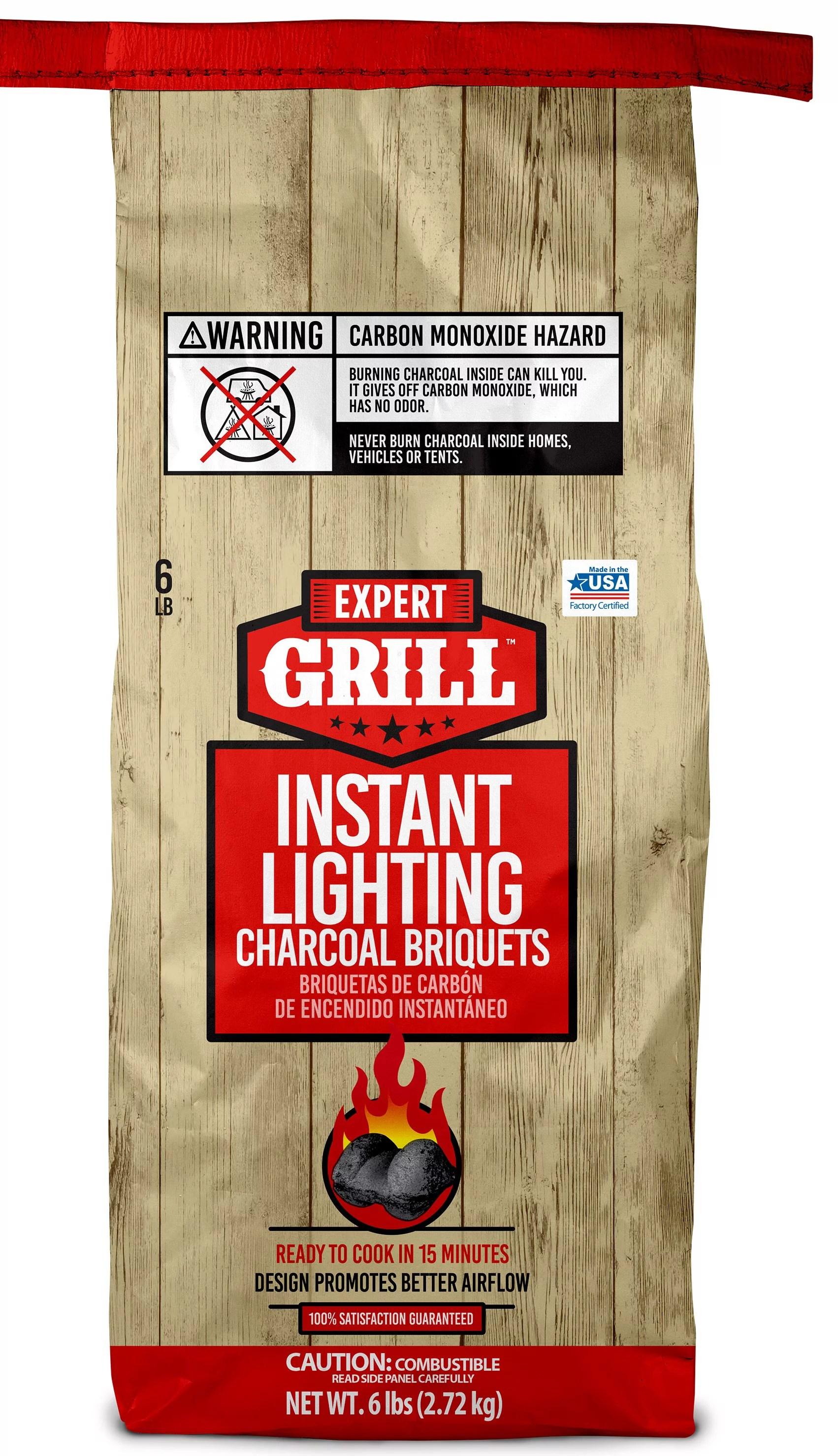 expert grill instant charcoal briquets charcoal grill briquettes 6 lb walmart com walmart com
