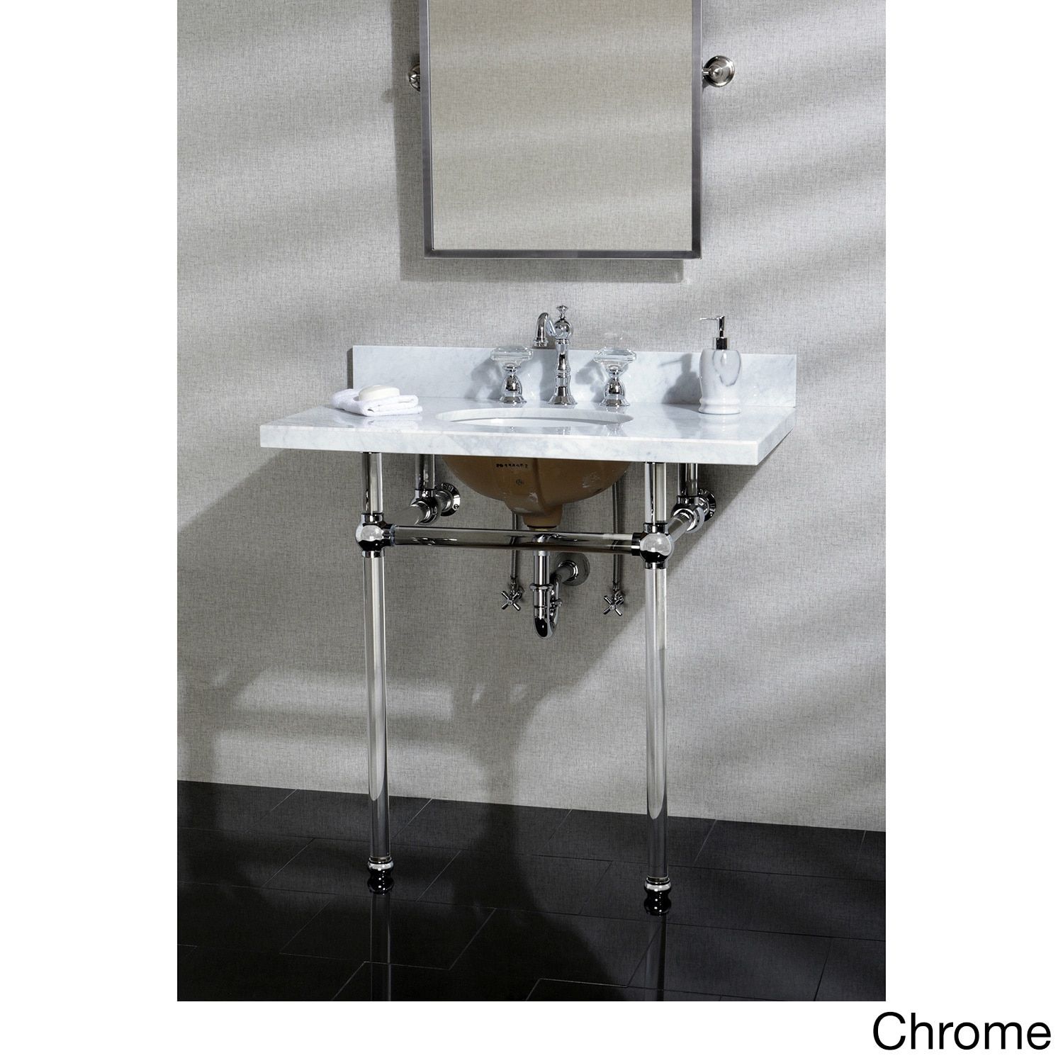 kingston brass vintage carrara marble 36 inch console sink and acrylic stand