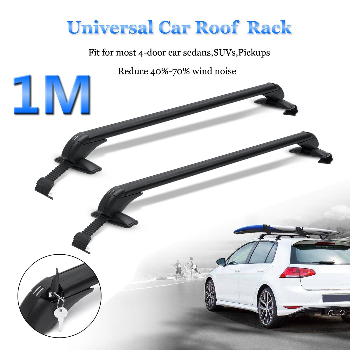 331 lb capacity car roof rack cross bars luggage carrier aluminum with lock anti theft for car roof trough width 39 4 41