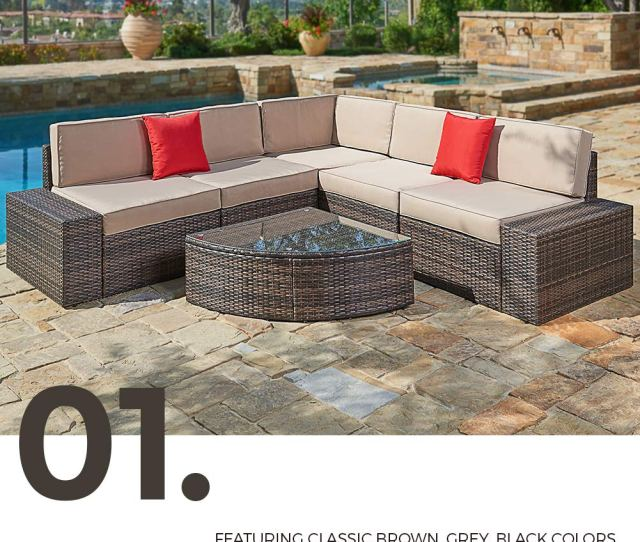 Suncrown Outdoor Furniture Sectional Sofa Wedge Table 6 Piece Set All Weather Brown Wicker With Washable Seat Cushions Modern Glass Coffee Table