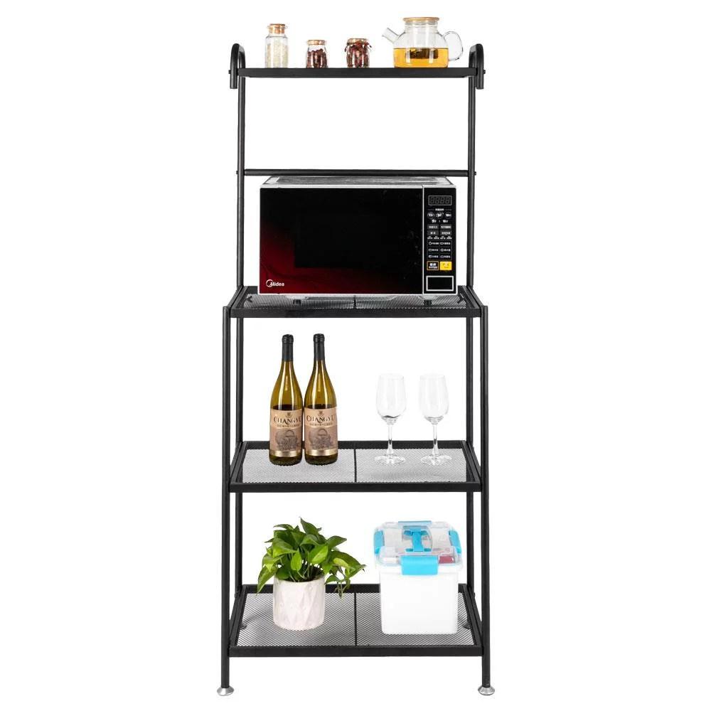 ubesgoo 4 tier metal kitchen baker s rack microwave stand shelf