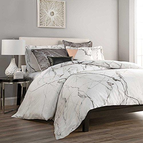 zorlu carrara king duvet cover set in white grey marble made in turkey 100 cotton