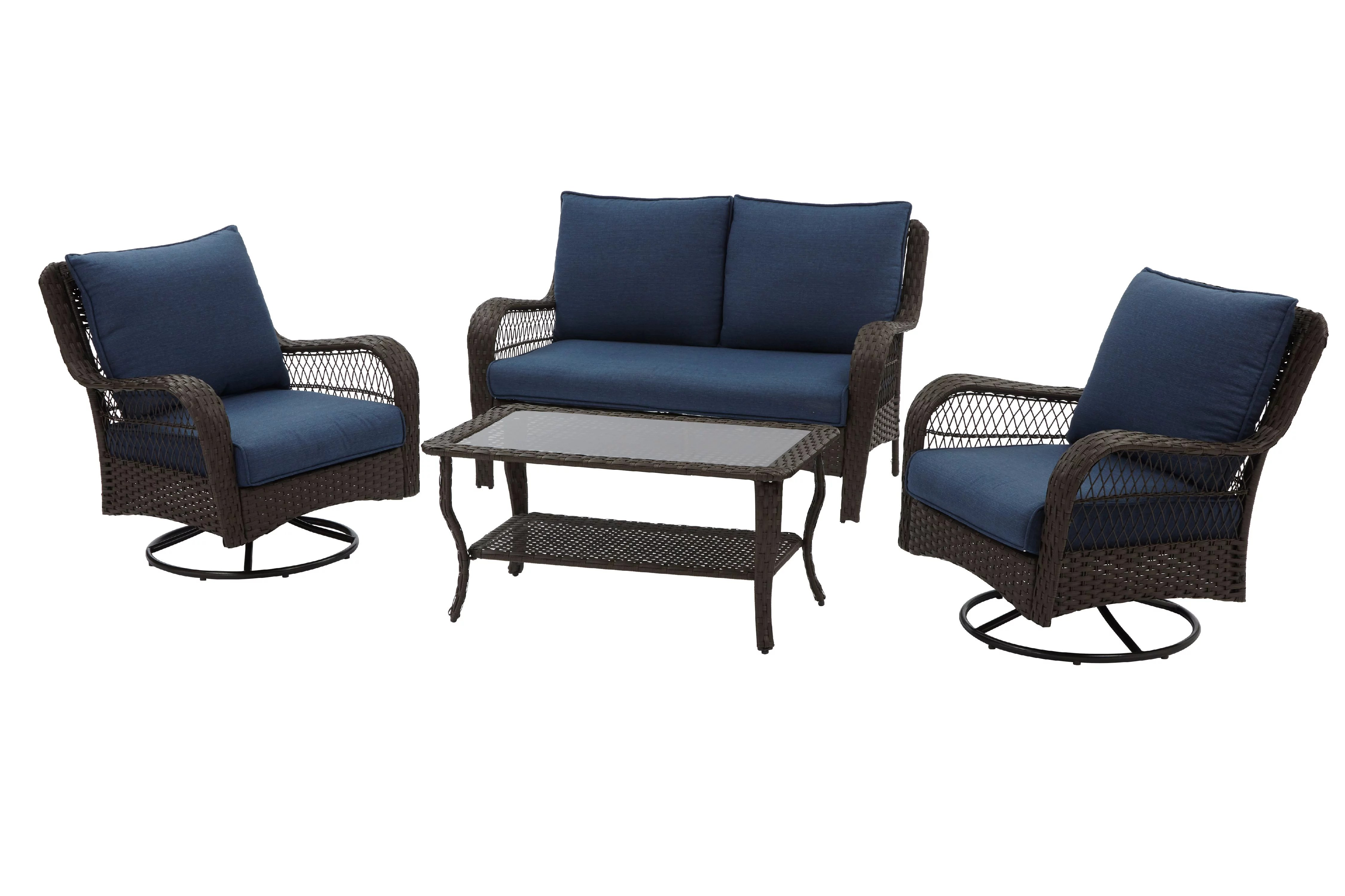 better homes gardens colebrook 4 piece wicker patio furniture conversation set with swivel chairs