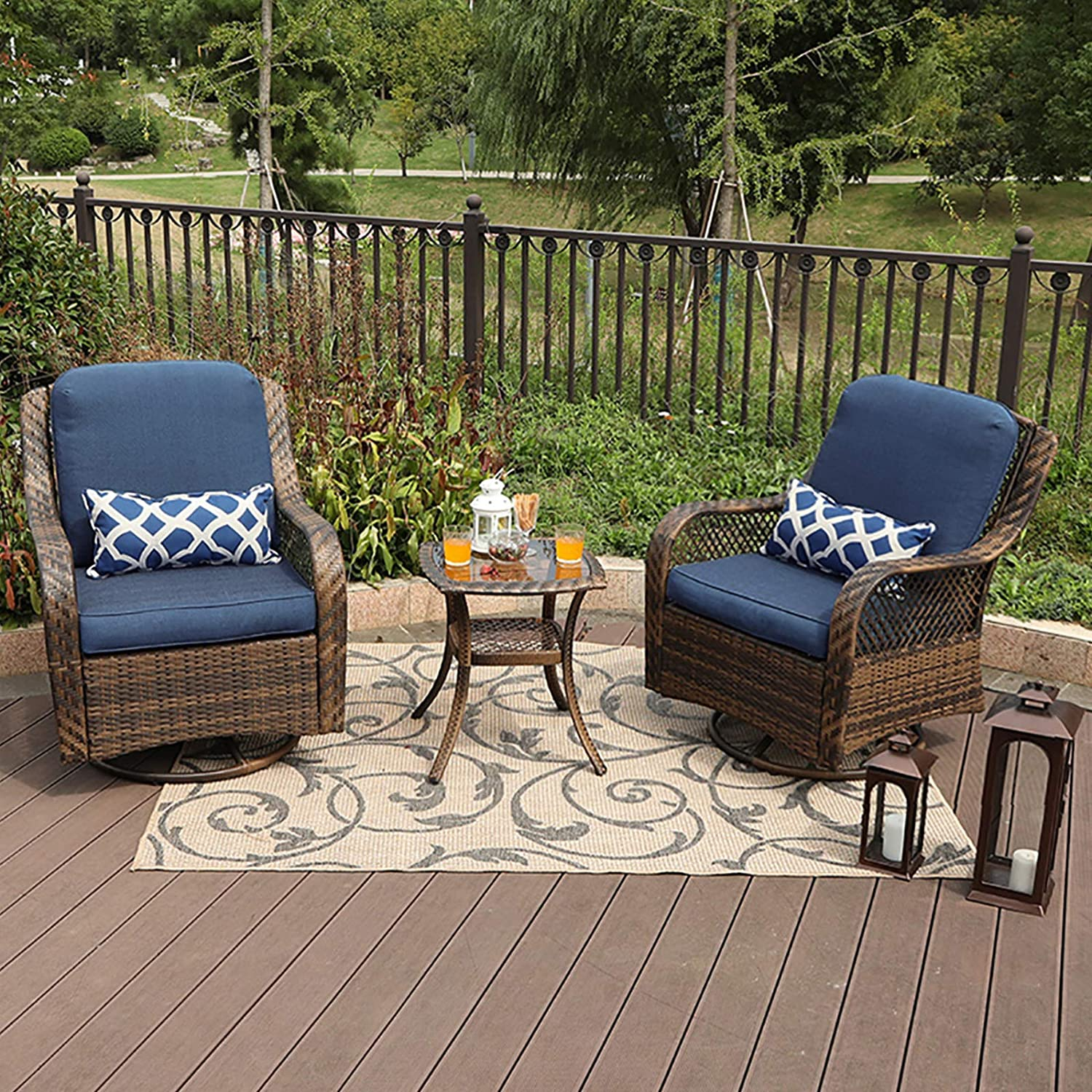mf studio rattan swivel rocking chairs 3 pc patio conversation set outdoor bistro set lawn garden with 2 cushioned chairs 1 side table