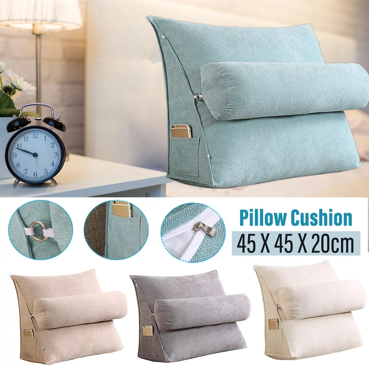 17 7in reading relax pillow bed wedge pillow 3 heights adjustable back support pillow adult backrest lounge cushion with pockets back support for