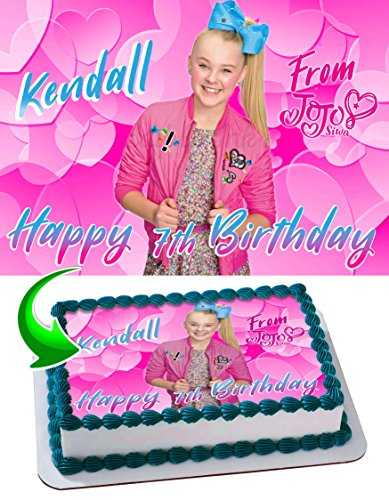 jojo siwa joelle joanie siwa edible cake topper personalized birthday 1 4 sheet decoration custom sheet party birthday sugar frosting transfer fondant