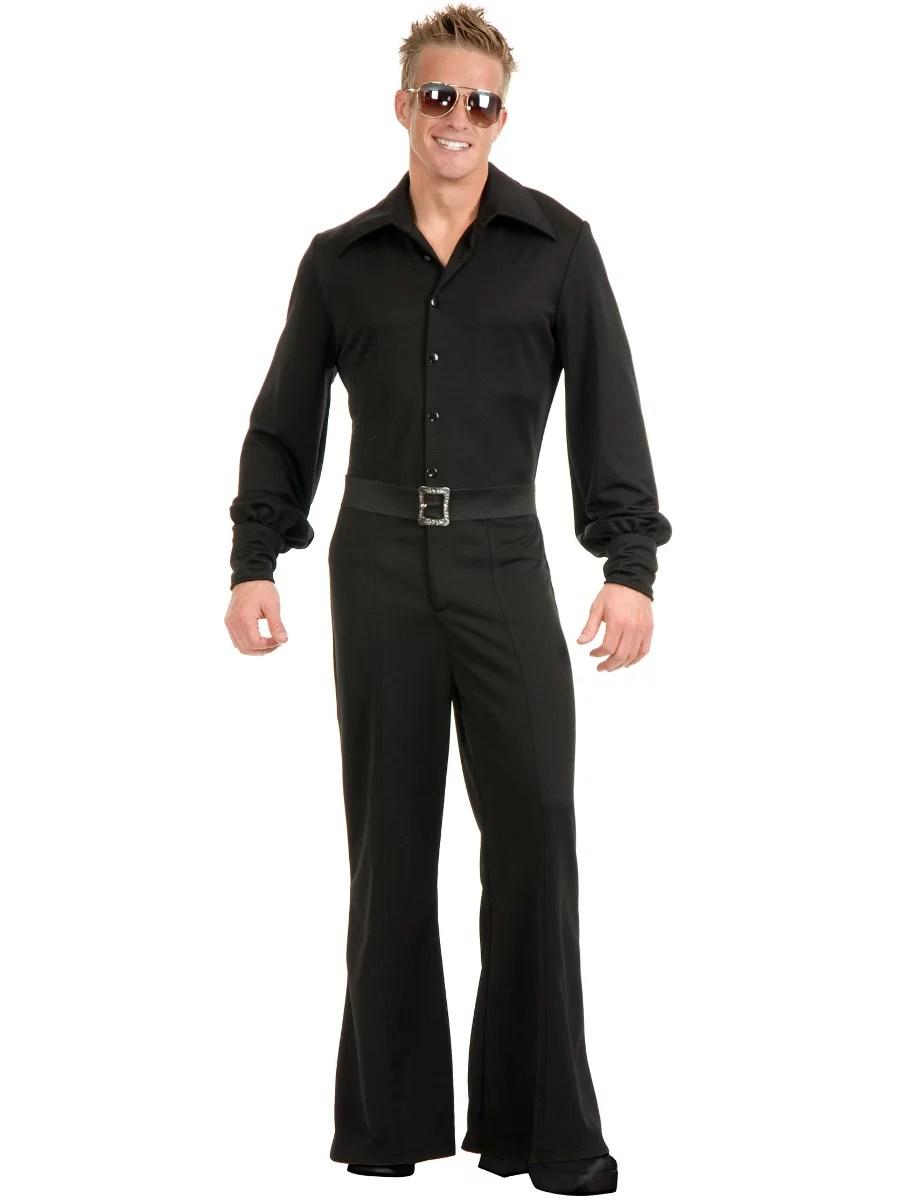 Adult Mens Black Studio 54 Disco Jumpsuit Costume