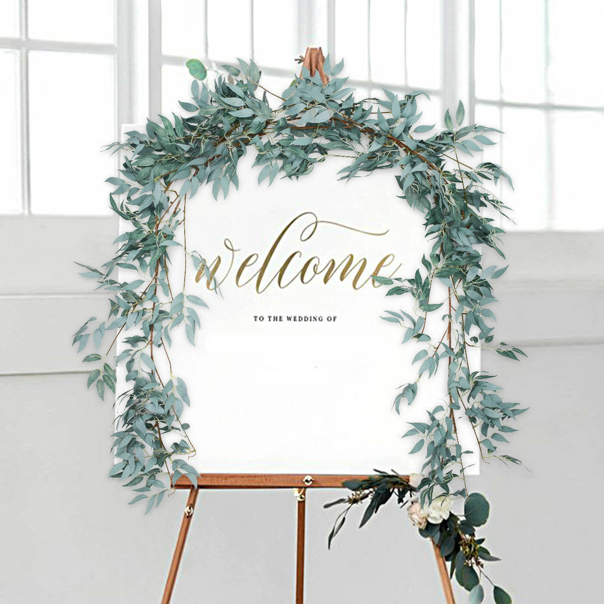 5.57ft Artificial Greenery Garland Faux Wreath Wedding ... on Wall Sconces For Greenery Decoration id=37560