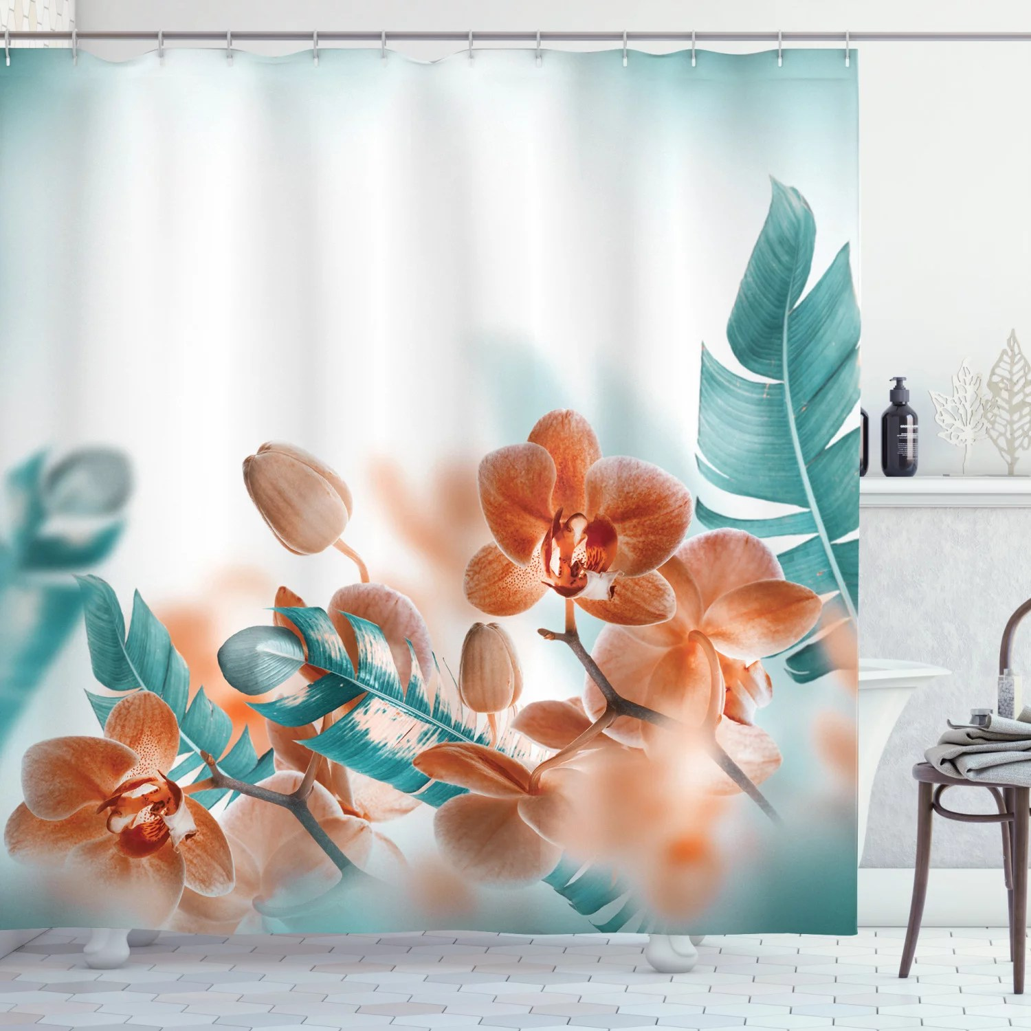 tropical decor shower curtain set tropical orchids blossom leaves on blurred background floral themed modern art bathroom accessories 69w x 70l